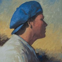 Brett in a blue hat